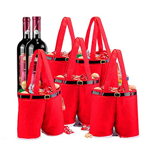 MSQ 5PCS Christmas Decorations Gift Bags Candy Bags Santa Pants Style Lovely Treat Bags Wine Bottle Bags for Children Best for Wedding Holiday New Year Big Size