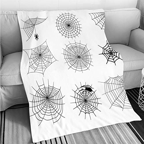 Weave Pattern Printed Multicolor Custom Design Spiders Vector Web Silhouette Spooky Spider Nature Halloween Element Cobweb Decoration Fear Spooky net Hypoallergenic Blanket for Bed Couch Chair