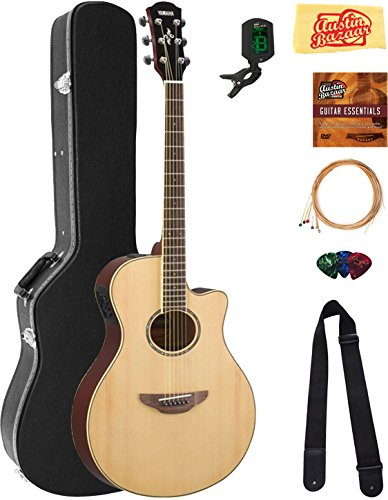 Yamaha APX600 Thin Body Acoustic-Electric Guitar – Natural Bundle with Hard Case, Tuner, Strings, Strap, Picks, Austin Bazaar Instructional DVD, and Polishing Cloth, Natural, Bundle w/ Hard Case
