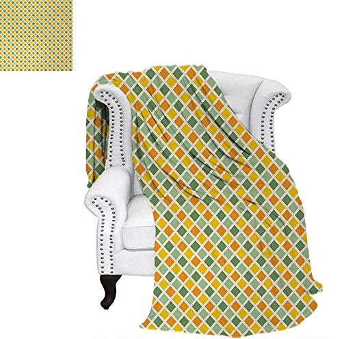 - Lightweight Blanket Classical Checkered Pattern in Yellow and Green Colors Striped Crossed Custom Design Cozy Flannel Blanket 70