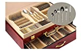 75-Piece Gold Flatware Set Dining Service for 12, 18/10 Premium Stainless Steel, 24K Gold-Plated Trim, Silverware Serving Set, Wood Storage Case (''Venice'')