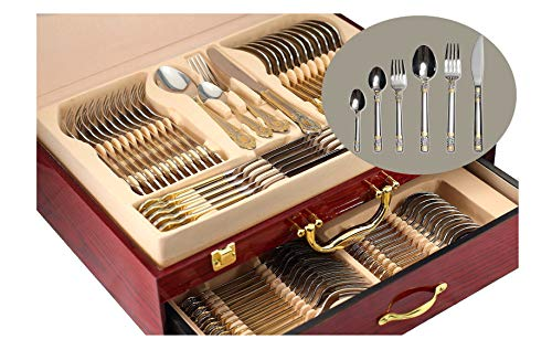 (75-Piece Gold Flatware Set Dining Service for 12, 18/10 Premium Stainless Steel, 24K Gold-Plated Trim, Silverware Serving Set, Wood Storage Case (
