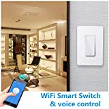 Smart Light Switch Compatible with Alexa/Google Assistant/IFTTT, Wsdcam WiFi Wall Switch No Hub Required App and Voice Control, In-Wall Timer Switch for Ceiling Fan Lamp Lights - 1 Pack