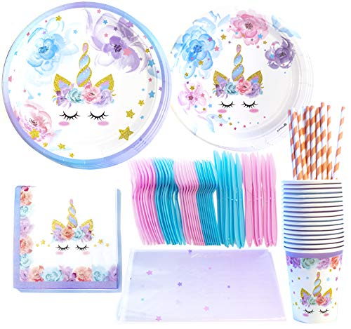 Unicorn Party Supplies Set - Serves 16 Guests - Cute Unicorn Themed Party Favors - Magical Rainbow Design - Birthday Party Supplies - By Xeren Designs -