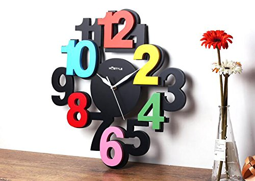 YSRHome Silent Non Ticking Vintage Modern Decorative Wooden Color Digital 16 Inch Large Watch Wall Clocks for Living Room Bedroom Kitchen Office, Easy to Read
