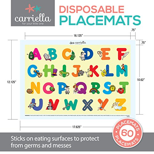 Carriella 60 Count ABC Disposable Placemats for Children Stick on Table Topper by Disposable Placemats (Image #3)