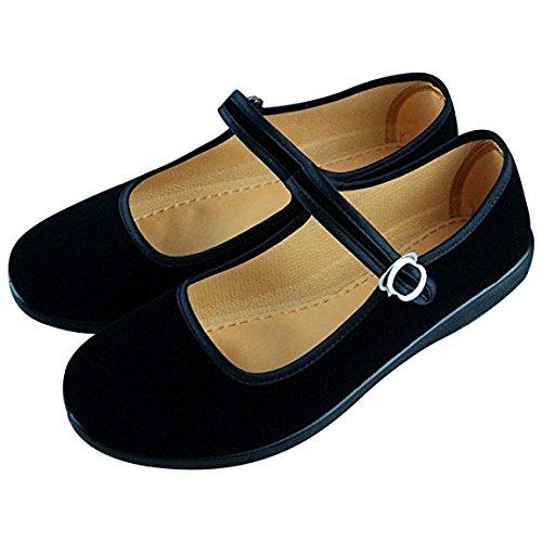 c95b2424de4 Women s Velvet Mary Jane Shoes Black Cottton Old Beijing Cloth Flats Yoga  Exercise Dance Shoes  Amazon.ca  Shoes   Handbags