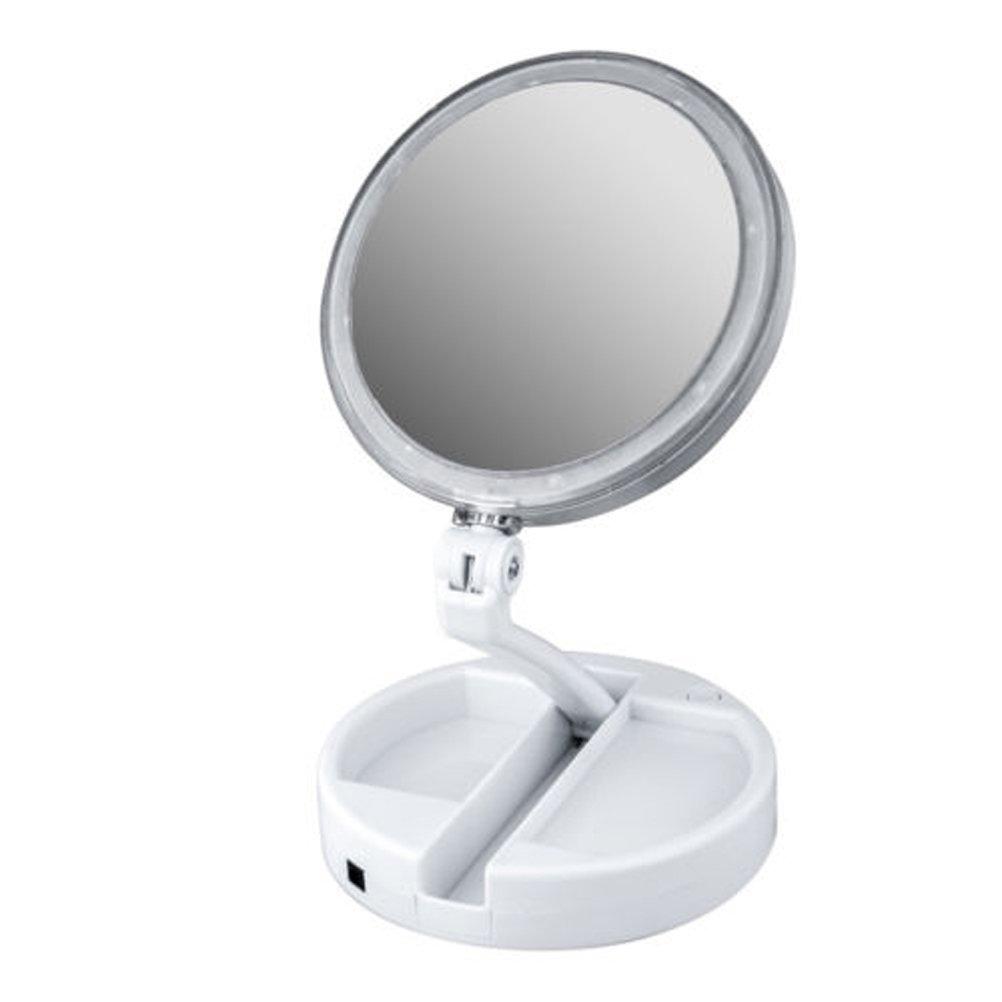 Frcolor Miroir Lumineux Maquillage grossissement 10x Miroir de table double-face cosmétique avec lumières LED pour table de salle de bain chambre voyage