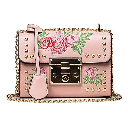 Women's Messenger Bags Retro Embroidery Bags PU Leather Shoulder Handbags (Pink)