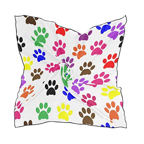 Silk Scarf Paw Prints Colorful Square Headscarf 23 x 23 inches for Women]()