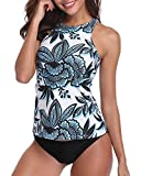 HOLIPICK Women Two Piece Plus Size Sexy Backless High Neck Halter Floral Printed Top with Hipster Bottoms Tankini Set White XL