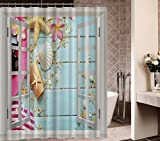 Gwein Windows Mediterranean Style Decorative Fish Net Starfish Shell Bath Home Decor of Waterproof Bathroom Polyester Fabric Mildew Resistant Shower Curtains 60''(w)x72'' (h)Inch