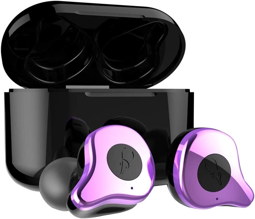 Sabbat True Wireless Earbuds, E12 Ultra Bluetooth 5.0 Headphones with Charging Case, Noise Cancelling Built in Mic TWS HiFi Bass Stereo in Ear 30 Hours Playtime Earphones for Android iPhone (Purple)