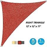 AsterOutdoor Sun Shade Sail Triangle 12' x 12' x