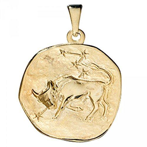 Pendentif signe du zodiaque Taureau en or jaune 333