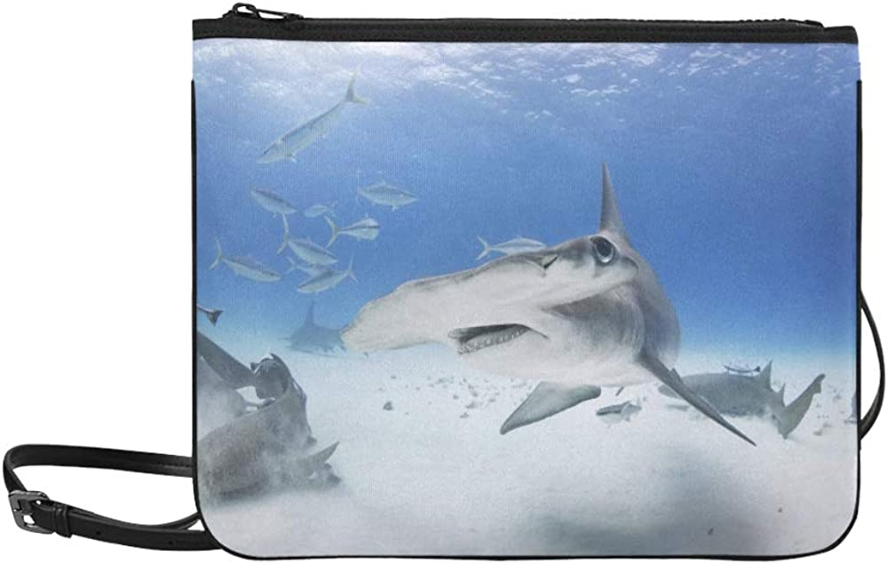 Great Hammerhead Shark Turns With Fins Down Pattern Custom High-grade Nylon Slim Clutch Bag Cross-body Bag Shoulder Bag