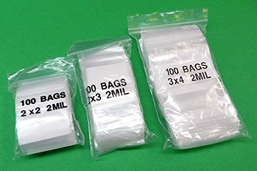 White Block Recloseable Poly Bags - 300 ZIP LOCK BAGS RECLOSABLE 2 MIL White Block Poly Bag 2x2 2x3 3x4 -100 Each (E 8) NOVELTOOLS