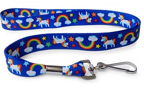 (Rainbow Unicorn Blue Lanyard - Soft Printed ID Neck Lanyard)