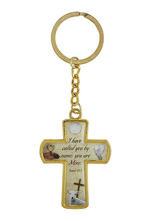 Amazon.com: Llaveros de cruz dorados católicos religiosos, 4 ...