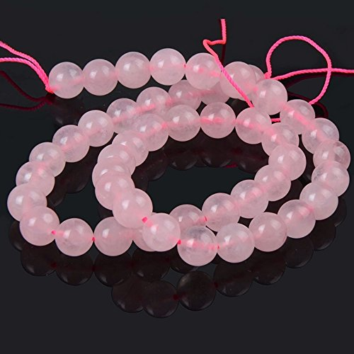 48 Genuine Natural Pink Rose Quartz Beads- Round 15 Strand - Semi Precious Gemstone Jewelry Making (Rosary Beads Semiprecious)