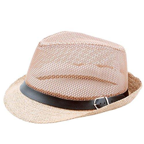 (Kimloog Beach Sun Hat, Men/Women's Breathable Short Brim Band Fedora Straw Caps (Khaki))