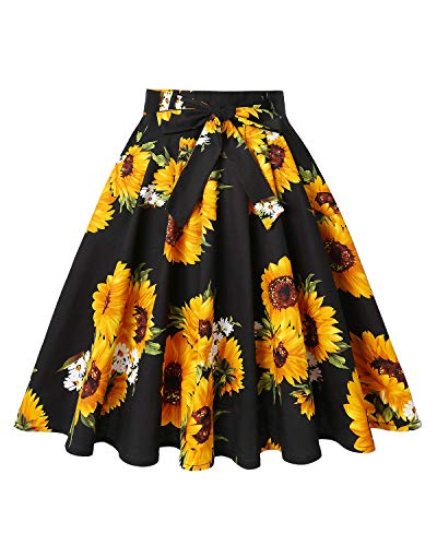 MINTLIMIT 1950s Vintage Retro Floral Printed Swing Rockabilly Casual Party Skirts(Floral Yellow,Size L) ()