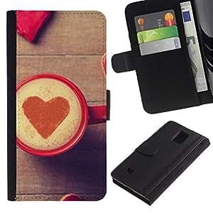 NEECELL GIFT forCITY // Billetera de cuero Caso Cubierta de protección Carcasa / Leather Wallet Case for Samsung Galaxy Note 4 IV // Corazón del amor del café