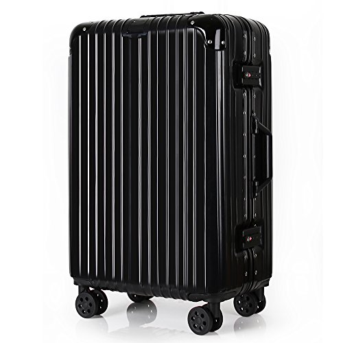 Travel Luggage Aluminum Light Weight Hardshell 360 roller Suitcase TSA Locks Business Hardside Luggage (Black, 20inch) by TOGEDI