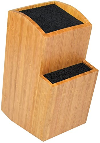 Bamboo Universal Knife Block - Extra Large Two-tiered Slotless Wooden Knife Stand, Organizer & Holder - Convenient Safe Storage for Large & Small Knives & Utensils - Easy to Clean Removable Bristles (Slotless Block Knife)