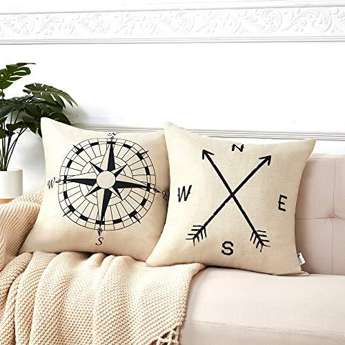 Anickal Set of 2 Modern Decorative Nautical Arrow Compass Decorative Throw Pillow Covers Cotton Linen Pillow Cases 18 x 18 for Summer Home Decor (Pillows Throw Lake)