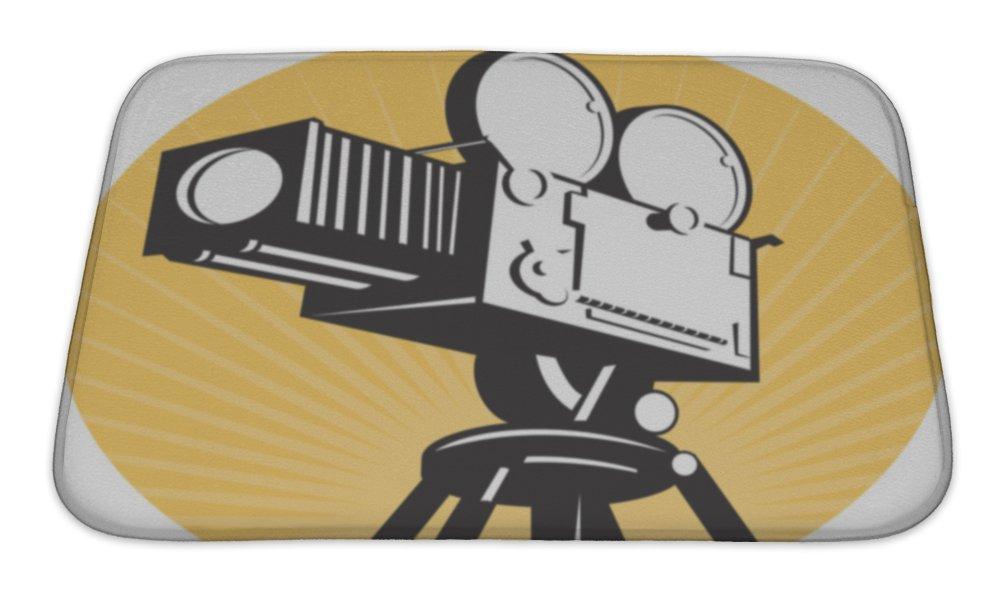 Gear New No Slip Microfiber Memory Foam Vintage Movie Film Camera Retro Style Bath Rug Mat, 24'' X 17''