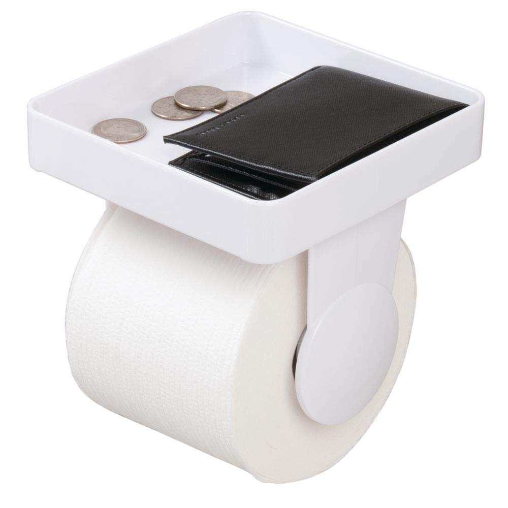 d/érouleur papier WC en plastique avec tablette de rangement pour lingettes etc porte papier toilette pratique pour la salle de bains blanc mDesign distributeur de papier toilette mural