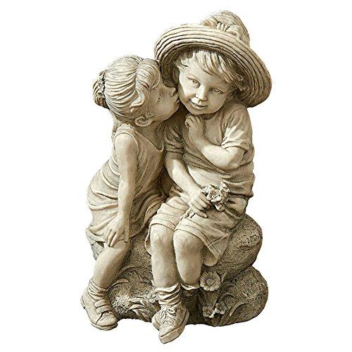 Designer Resin Statue - Skrootz Kissing Kids Statue Boy And Girl Hand-cast Designer Resin Hand-finished