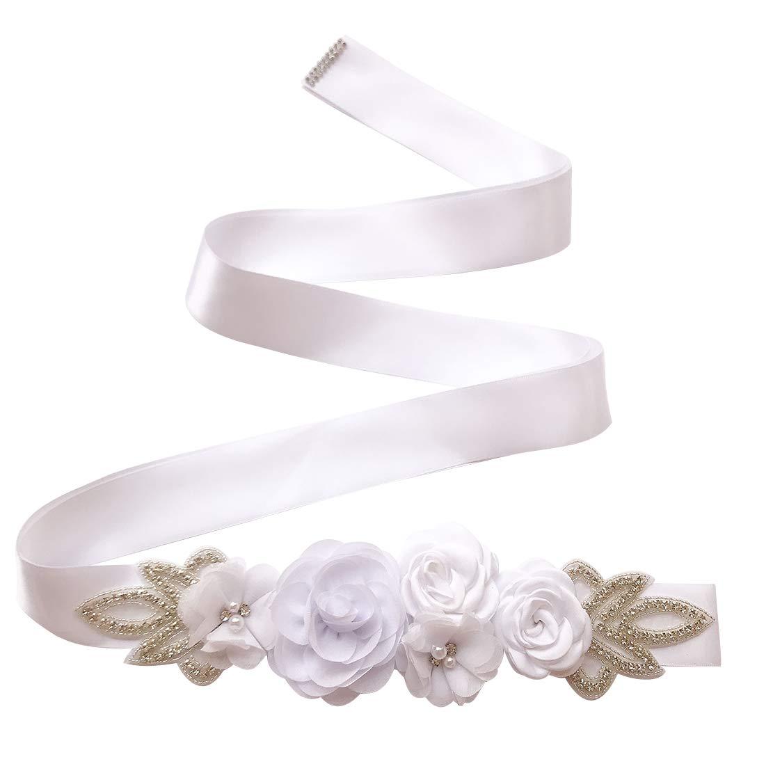 Spmor Womens Bridal Wedding Dress Rhinestone Sash Maternity Sash Belt Flower Baby Girl Sash Belt