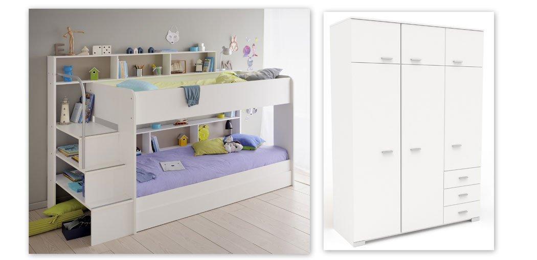 expendio Kinderzimmer Twin 53 Weißszlig; Etagenbett mit Bettkasten Kleiderschrank Hochschrank Bett