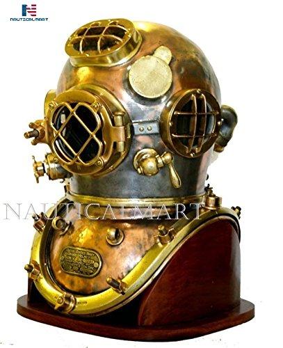 NAUTICALMART Antique Diving Divers Helmet Us Navy Mark V Helmet with Base