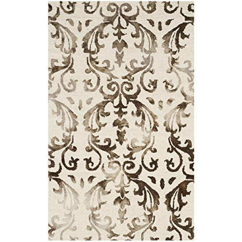 Safavieh Dip Dye Collection DDY689B Handmade Geometric Watercolor Ivory and Chocolate Wool Area Rug 3 x 5