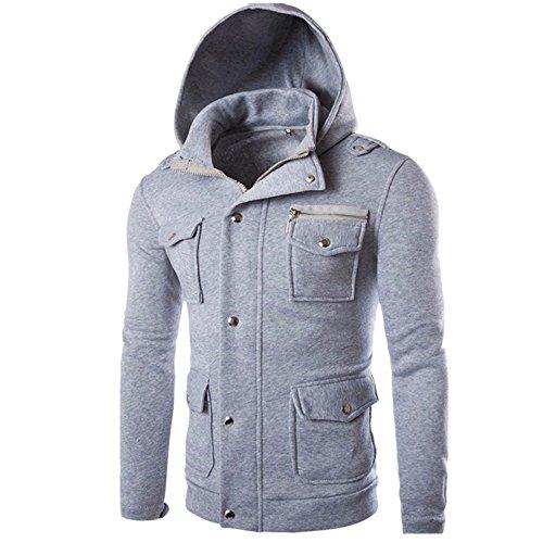Sudadera Bolsillo Hombres Capucha suéter Swearshirt Chaqueta SHOBDW Outwear Larga con sólido Gris Abrigo Manga 0URw5x