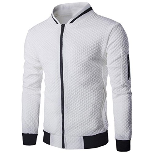 Forthery Forhtery Mens Sports Polar Fleece Zip Front Knitted Cardigan Jacket (XL, White)