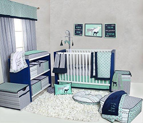 Bacati Noah Tribal 10 Piece Nursery-in-a-Bag Cotton Percale Unisex Crib Bedding Set, Mint/Navy [並行輸入品]   B077Z4HMC1