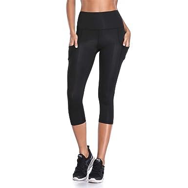 b10d679a78faf Joyshaper Workout Capri Leggings for Women High Waist Yoga Pants with  Pockets Tummy Gym Running Tights