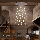 CAC 36 Lights Modern Clear Cast Glass Ball Meteor Shower Chandelier Wtith Polished Chrome Stainless Steel Lighitng Fixture,L110cmW37cmH3m