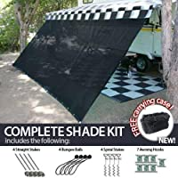 8' x 12' RV Awning Shade (Black) Complete Kit with Carry Bag Canopy Shelter Screen Panel and Awning Maintenance Manual Motor Home Trailer Awning Shade