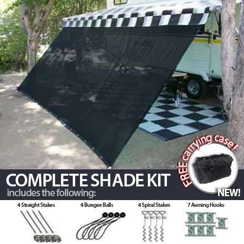 (12' x 20' RV Awning Shade Net (Black) Complete Kit with Carry Bag Canopy Shelter Screen Panel and Awning Maintenance Manual Motor Home Trailer)