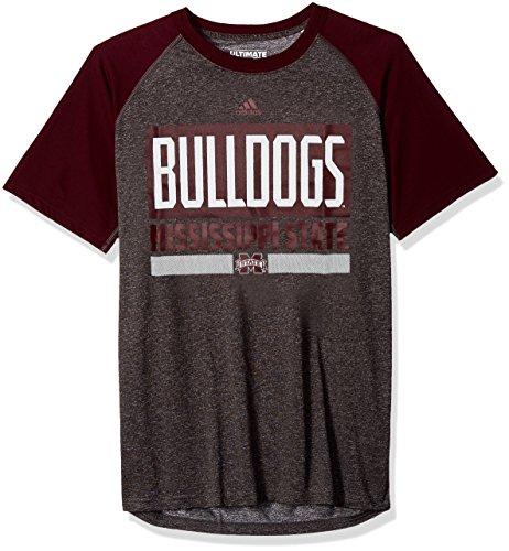 adidas NCAA Mississippi State Bulldogs Adult Men Linear Stacked Ultimate Raglan S/Tee, X-Large, Dark Gray Heathered/Maroon