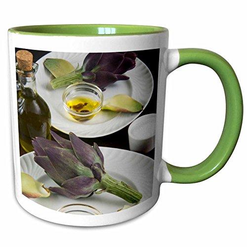 3dRose Danita Delimont - Cuisines - Artichoke, dipping sauce, cuisine - LI11 NTO0040 - Nico Tondini - 15oz Two-Tone Green Mug (mug_140036_12) -