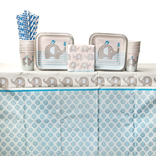 Little Peanut Boy Baby Shower Party Supplies Pack for 16 Guests: Straws, Dessert Plates, Beverage Napkins, Table Cover, and Cups]()