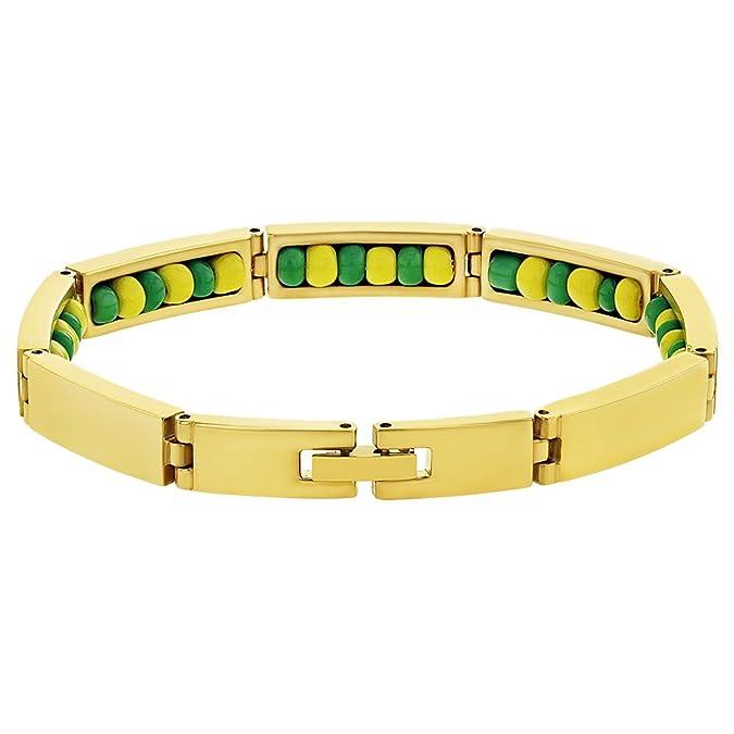 d3cdd4d70f8f In Season Jewelry Acero Inoxidable Orula Cuentas Color Verde y ...