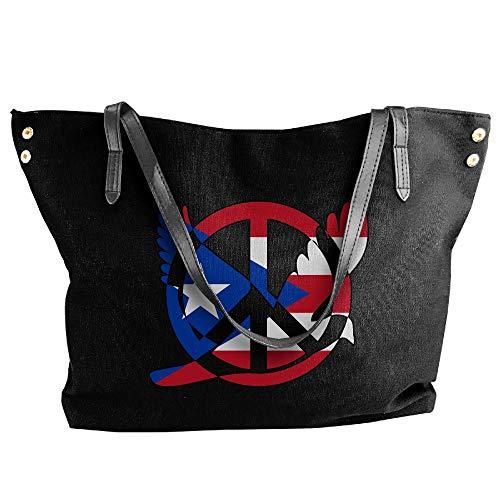 Women's Puerto Rico Flag Peace Sign Symbol Canvas Shoulder Bag Handbags Tote Bag Casual Work Bag