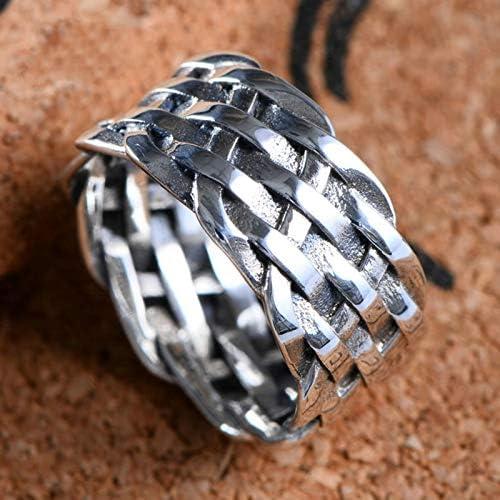 Anneau cr/âne S925 Anneaux en Argent Antique pour Femme et Homme Hip Hop Jewelry-Bague douverture r/églable Cadeau dHalloween